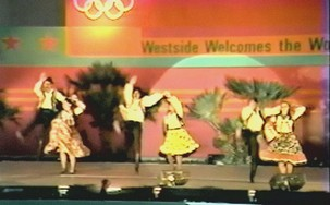 "Greek dances at the ""Westside Welcomes the World"" venue"